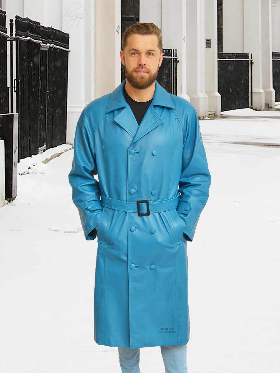 Higgs Leathers {36' to 48' chest}  Belgrave (men's Jade Blue Leather Trench Coat)