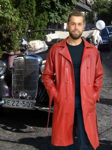 Higgs Leathers NEW!  Belgrave (men's Red Leather Trench Coat)