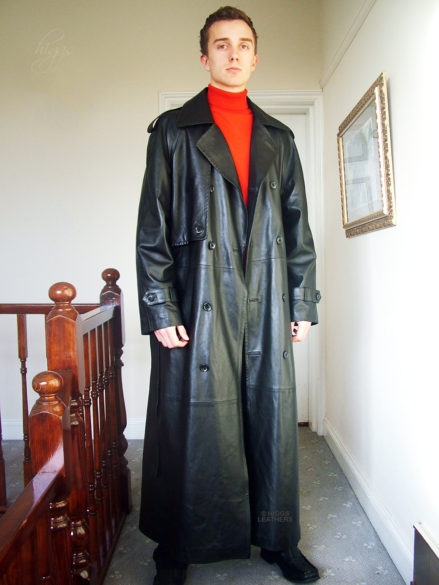 Higgs Leathers {38' to 50' chest}  Gareth (Ultimate Quality men's black leather trench HIGGS ORIGINAL DESIGN!