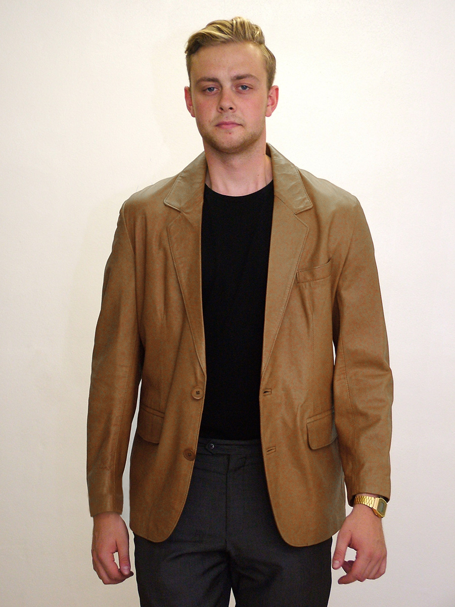 Higgs Leathers {54' chest SOLD!}  Miles (men's Tan Leather Blazer jacket)
