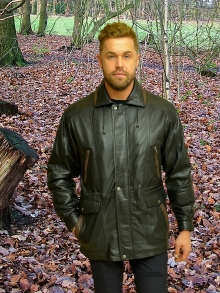 Higgs Leathers {Sizes 38' to 54'!}  Adrian (men's Black and Brown Leather Parka)  Perfect for winter wear!