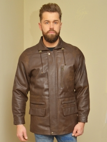 Higgs Leathers SAVE £100!  Ainsley   (Brown Leather Parka jacket for men)