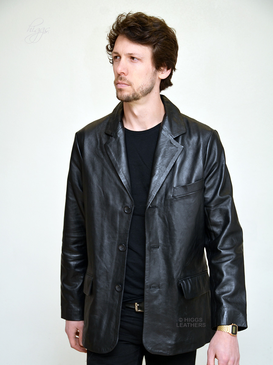 Higgs Leathers {36' chest LAST ONE!} Alfie  (men's Black Leather Retro suit jackets)