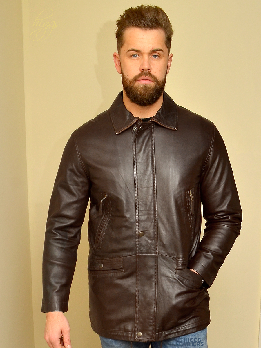 Higgs Leathers {HALF PRICE SAVE £100!}  Ashford   (men's Dark Brown Leather Parka)