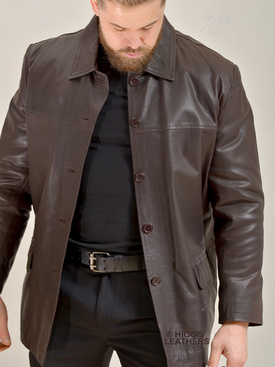 Higgs Leathers {HALF PRICE SAVE £100!}  Boyden (men's Box style Brown Leather jacket)