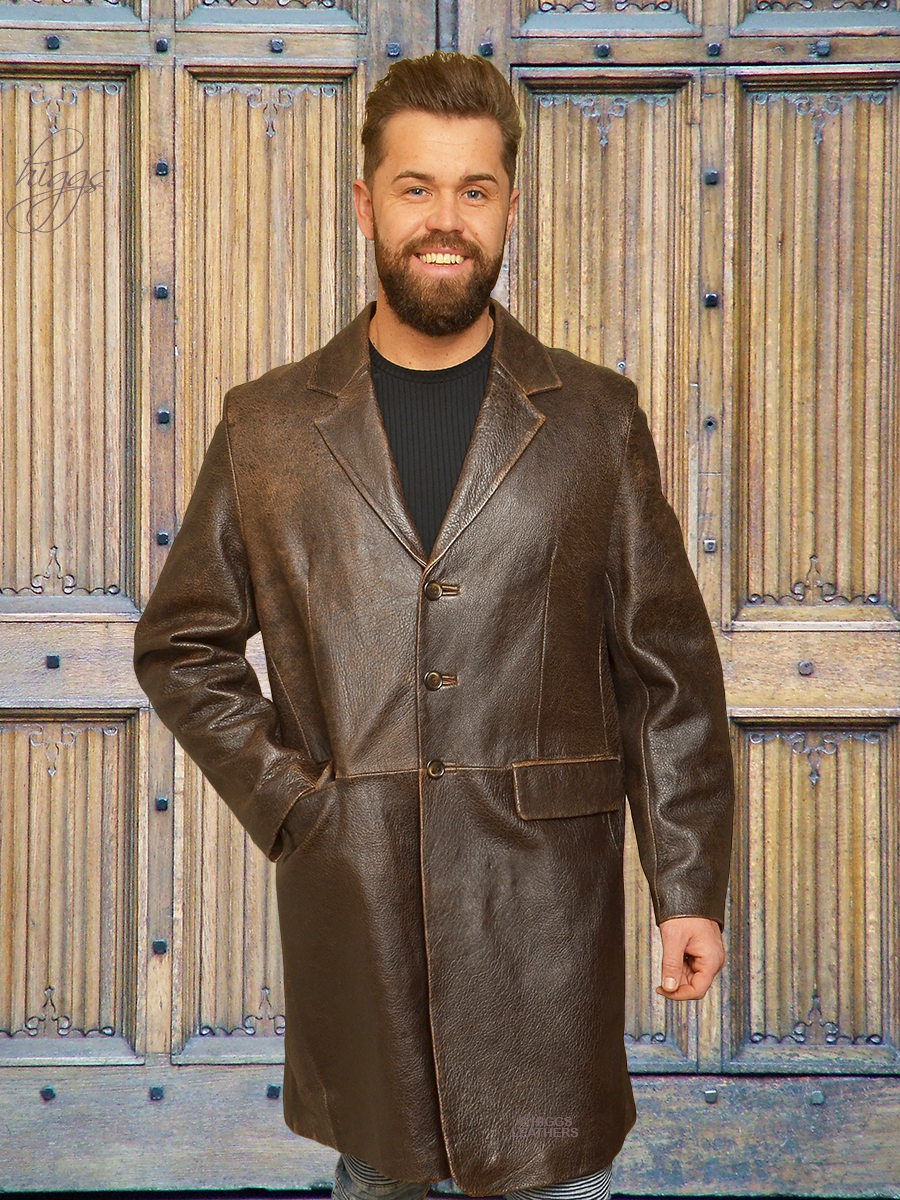 Higgs Leathers {UNDER HALF PRICE!}  Brewer  (Antique Brown Leather Crombie coat)