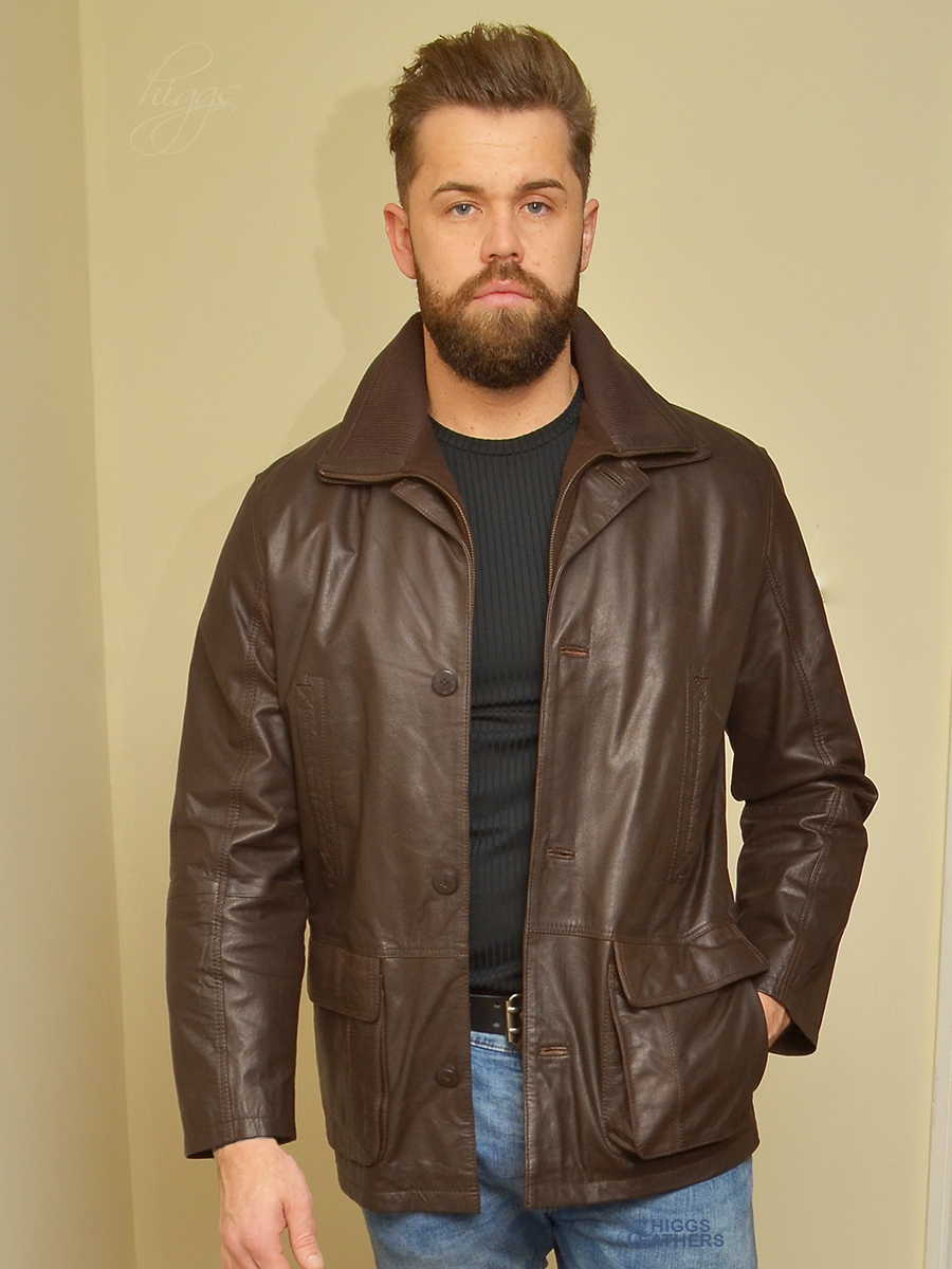 Higgs Leathers {HALF PRICE 42' chest}  Epping   (men's Dark Brown Leather Parka)
