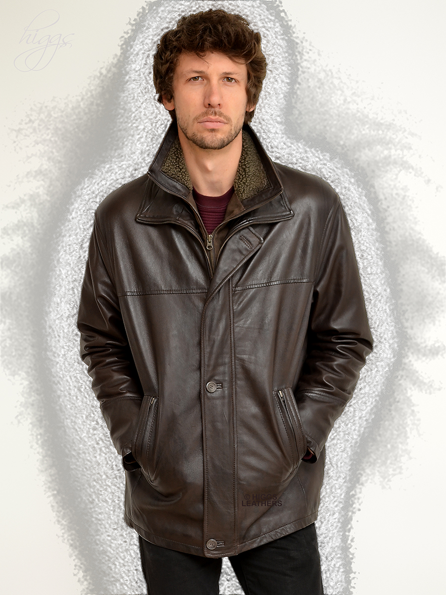 Higgs Leathers {38' to 54' chest}   Epson  (men's Dark Brown Leather Car Coat) Light weight - Warm - Hard wearing - The perfect winter jacket!