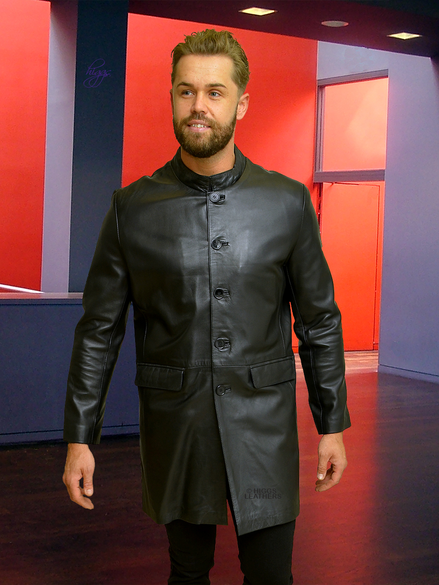 Higgs Leathers {ONE ONLY HALF PRICE!}  Maddox (men's black leather long jacket)