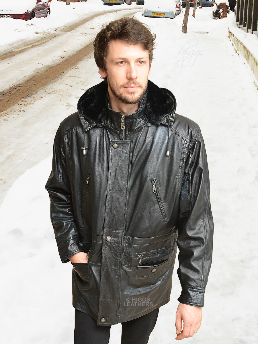 Higgs Leathers {LAST ONE SIZE 50'!}  Mike (Black Leather Duffel Coats for men) Wonderful value - Wonderfully WARM!