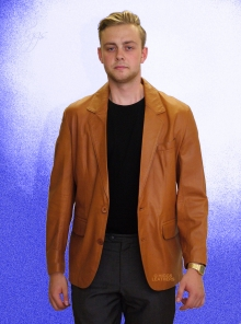 Higgs Leathers Miles (men's Tan Nappa Leather Blazer jackets)