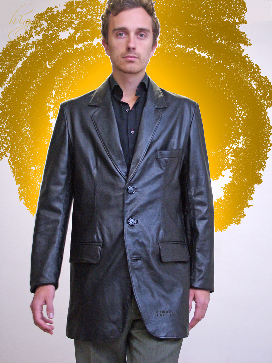 Higgs Leathers {NEW!}  Milos (men's extra long Black Leather jackets) From  our selection of men's Blazer style black leather jackets!