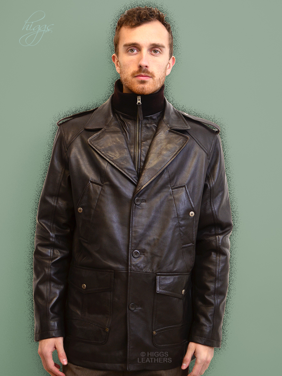 Higgs Leathers {36' to 52' chest}  Milton (Dark Brown Leather Parka Coats for men)