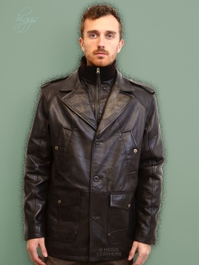 Higgs Leathers {Sizes 36' to 52'!}  Milton (Dark Brown Leather Parka Coats for men)