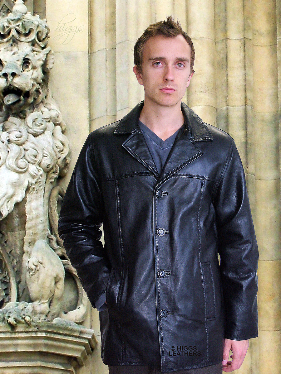 Higgs Leathers {LAST FEW BIG SIZES!}  Mitch (mens long black leather jacket)