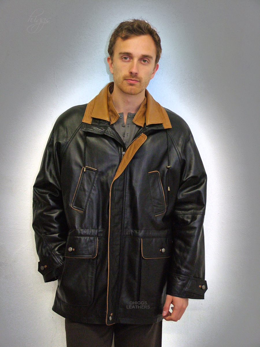 Higgs Leathers Ralph (men's PLUS SIZE Black Leather Parka) SIZES UP TO 56' CHEST!