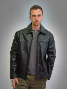 Higgs Leathers NEW PICTURE!  Sam (men's Black Jasper Leather jacket)