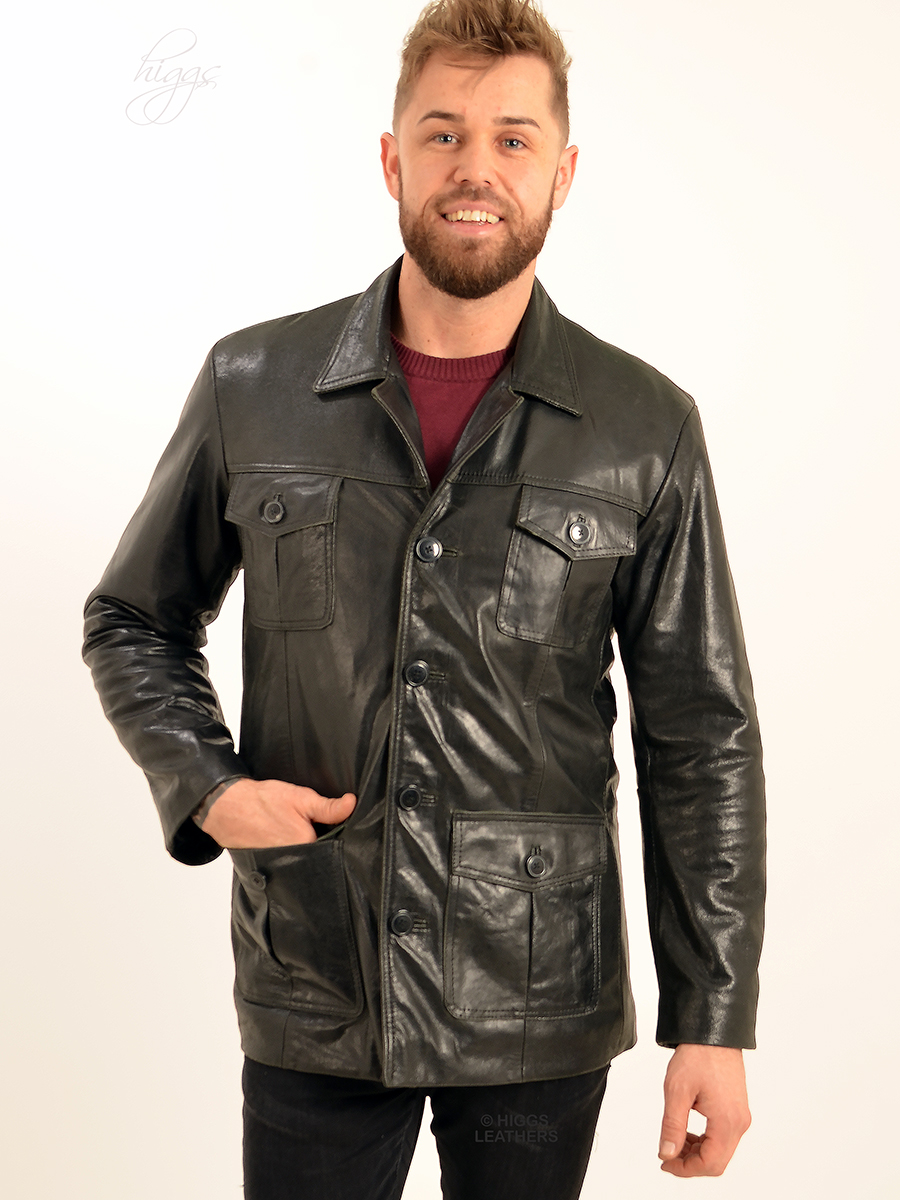 Higgs Leathers {34' TO 36' chest HALF PRICE!}  Savvi (men's Black leather Safari jacke FANTASTIC VALUE!