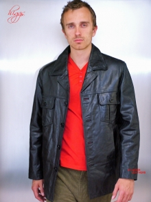 Higgs Leathers TWO ONLY SAVE £40! Theo (men's Black leather 'Safari' jacket) GREAT STYLE - GREAT VALUE!