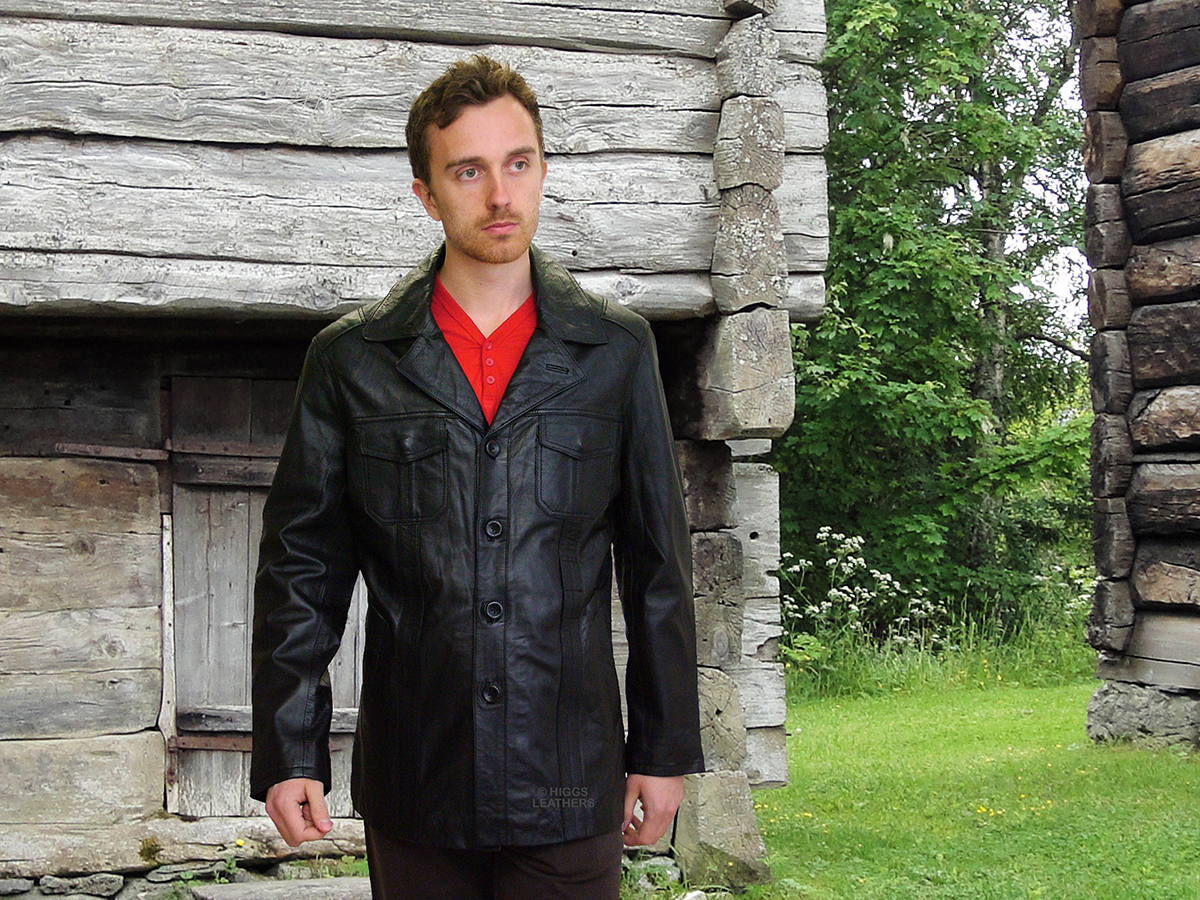Higgs Leathers {LAST ONE SIZE 44'!}  Theodore (men's Black leather Safari jacket) GREAT STYLE - GREAT VALUE!