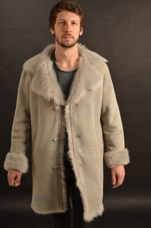 Higgs Leathers SAVE £200!  Alexander (men's Grey Frost Toscana Shearling coat)