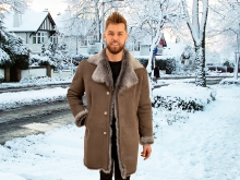 Higgs Leathers SAVE £200!  Alexander (men's Taupe Snowtip Toscana Shearling coat)