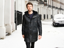 Higgs Leathers {LAST ONE SIZE 42' CHEST}  Denny (men's Black Sheepskin Duffel coat) NEW GENERATION MEN'S SHEEPSKIN COATS!