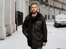 Higgs Leathers NEW!  Gavin (Toscana trimmed men's Merino Shearling coat)