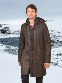 Higgs Leathers NEW!  Jonathan (men's Brown Sheepskin Duffle coat)