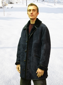 Higgs Leathers Kent (men's classic Navy Shearling coat)