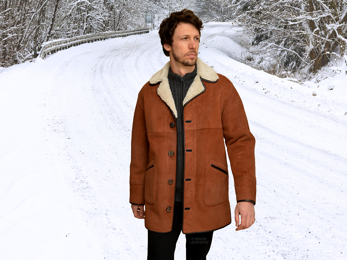 Higgs Leathers Kent (men s Tan and White Shearling coat) A Timeless Classic  Style! d4f7ecd9d