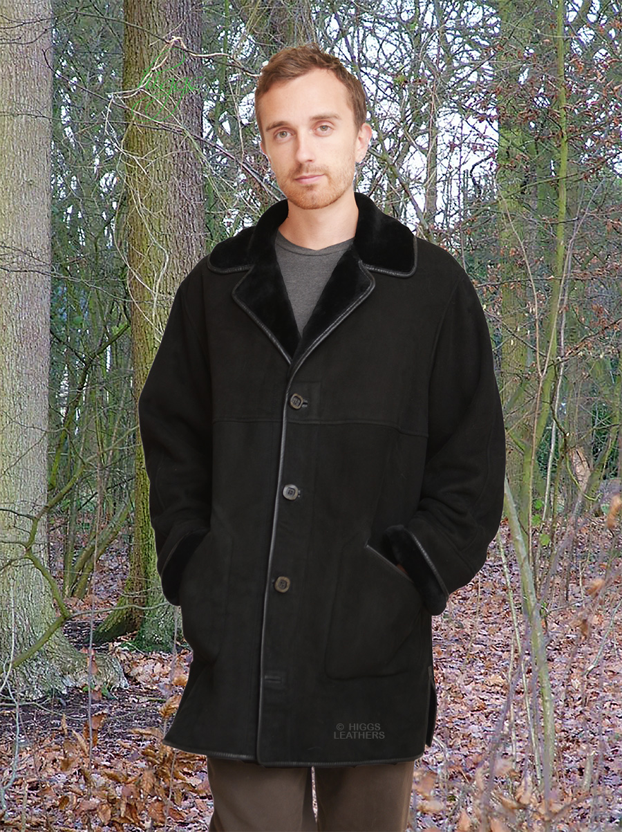Higgs Leathers {36' to 52' chest}  Kent (men's Black Merino Shearling coat)