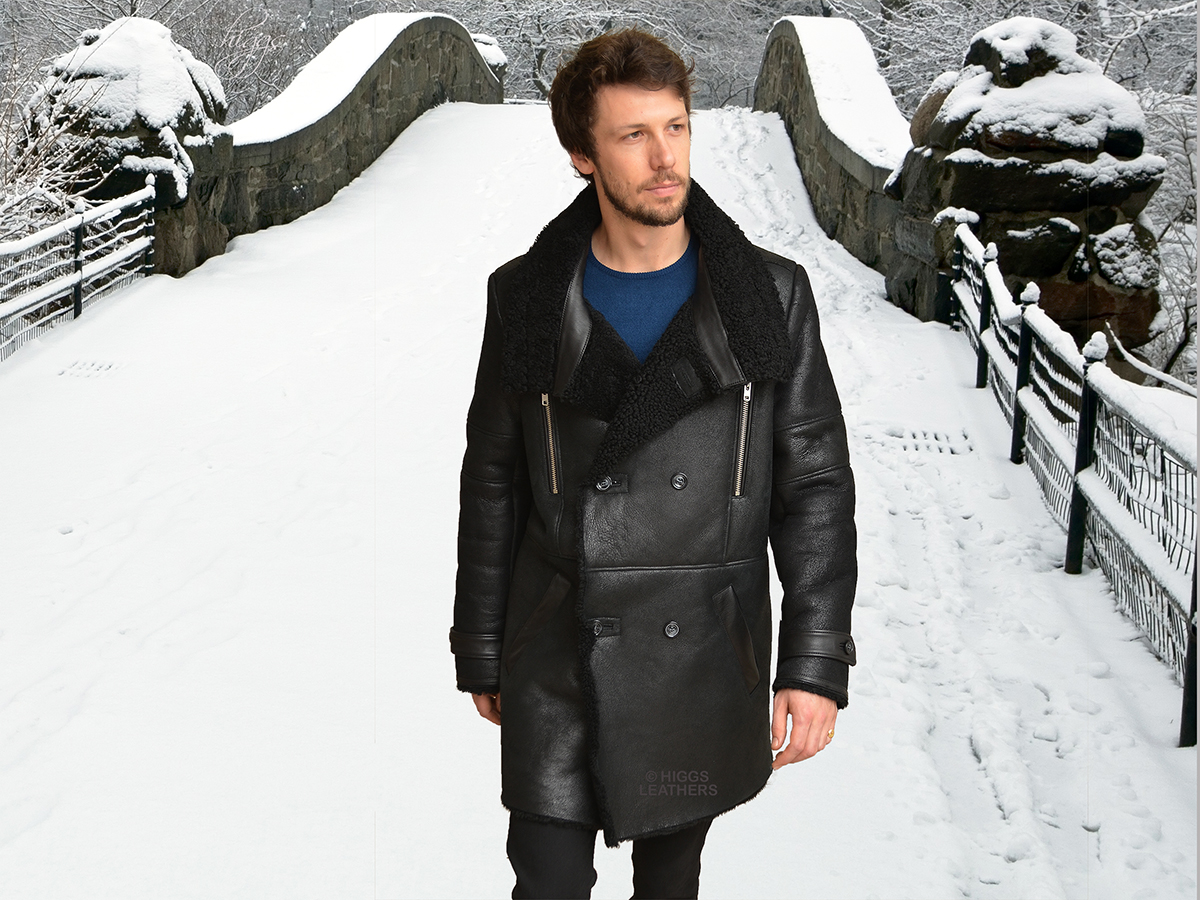 Higgs Leathers {36' to 48' chest}  Monty (men's DB Sheepskin coat)