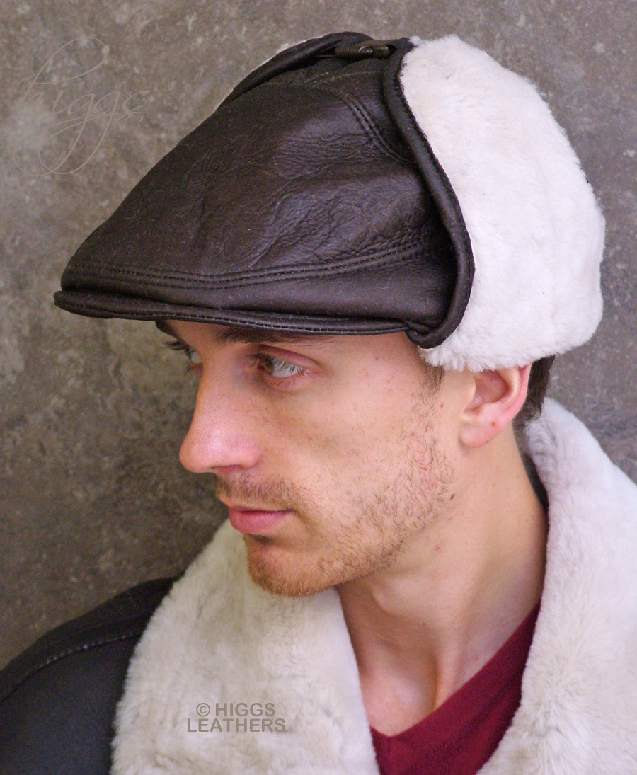 Higgs Leathers {Sizes 22' to 24'}  Capek (mens Sheepskin cap) LAUGH IN THE TEETH OF THE GALE!