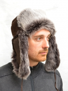 Higgs Leathers ONE ONLY!  Klondike (men's Luxury Dark Brown Shearling trapper hat)