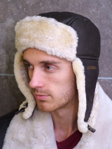 Higgs Leathers LAST FEW! Airco (men's Sheepskin flying hat)